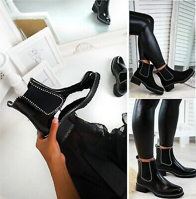 £22.99 • Buy Ladies Womens Low Block Chunky Heel Sole Chelsea Studded Ankle Shoes Boots Size