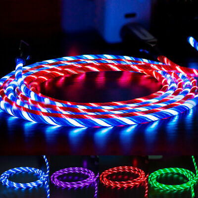 AU5.89 • Buy LED Flowing Light Up Lightning/TypeC/Micro USB Charging Cable For IPhone Android