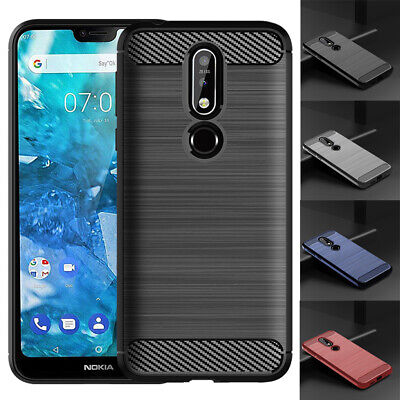 AU13.79 • Buy Carbon Fibre Case For Nokia 7 7.1 X7 7.1 Plus Shockproof Silicone Skin Cover