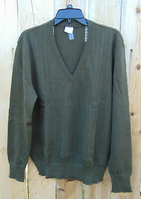 $22.99 • Buy Czech Military Wool V-Neck O.D.Green Sweater Size 53/L, New Non-issued Old Stock