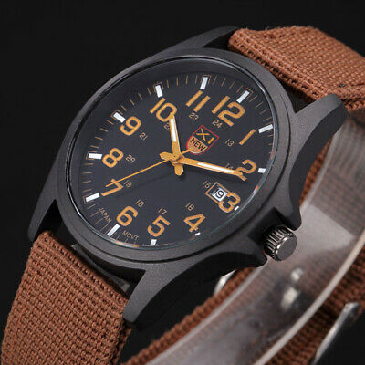 AU10.99 • Buy Fashion Men's Military Army Sport Analog Quartz Date Wrist Watches Nylon Band