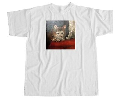 £14.99 • Buy Renaissance Cat T Shirt Emotionless Picture Reaction Face Meme Retro Laugh