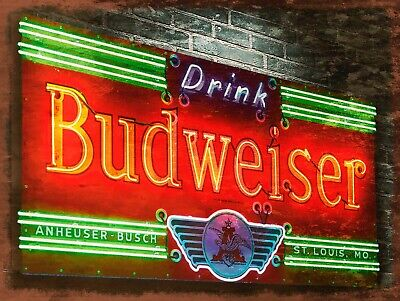 Budweiser, Retro Replica Vintage Style Metal Sign/plaque Gift Bar/pub • 5.15£