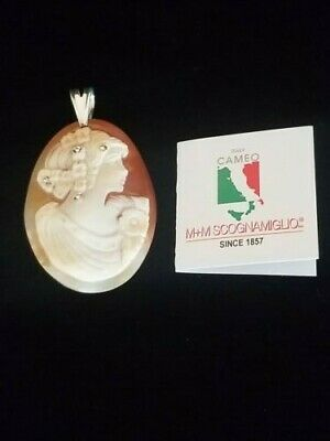 $109.99 • Buy M&m Scognamiglio Large Sterling Silver Carved Cameo Pendant Artist Signed
