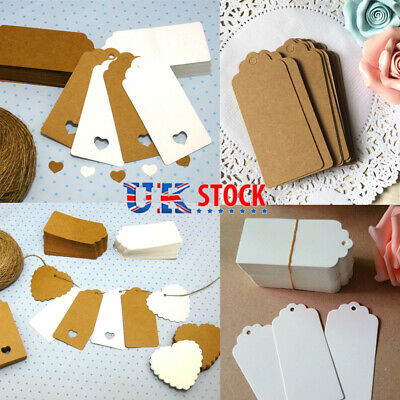 50/100pcs Kraft Paper Gift Tags Wedding Scallop Label Blank Luggage +Strings UK • 3.65£