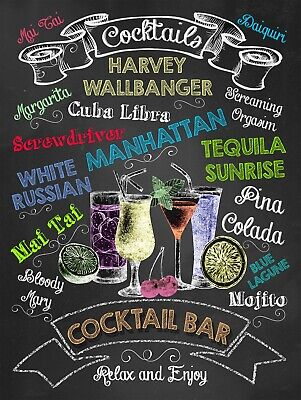 £4.58 • Buy Cocktail Bar, Retro Replica Vintage Style Metal Sign/plaque Gift