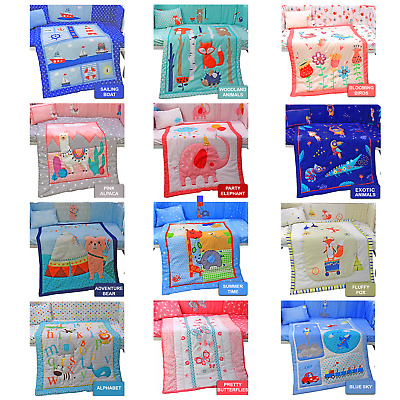 Complete Baby Nursery Bed Bedding Set Cot Quilt Duvet Bumper Fitted Sheet Pillow • 27.99£