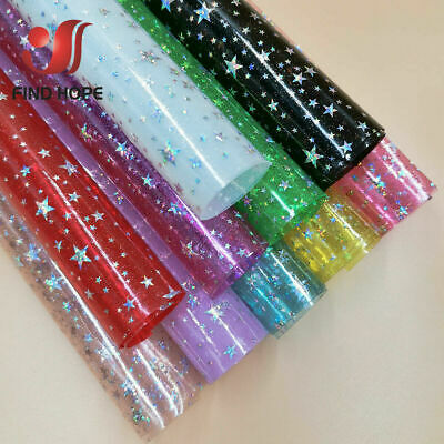 £0.99 • Buy Sparkle Iridescent Holographic PVC Vinyl Star Fabric DIY Bow Craft Material A4