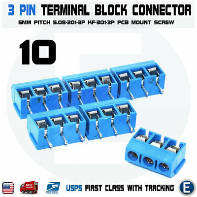 $3.63 • Buy 10pcs KF301-3P 3 Pin Screw Blue PCB Terminal Block Connector 5mm Pitch
