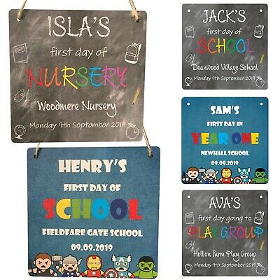£7.99 • Buy Personalised First School Day 1st Nursery Plaque Sign Name Photo Prop Gifts