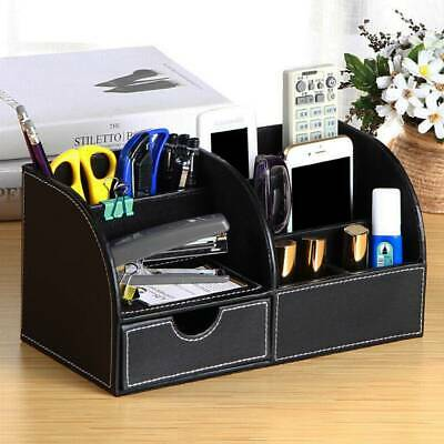 £13.29 • Buy Desk Organiser Card Pen Phone Remote Control Holder Storage Box PU Black
