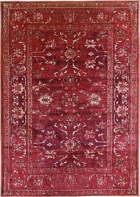 £79.95 • Buy Burgundy Rug Classic Vintage Design Traditional Faded Distressed Ruby Red