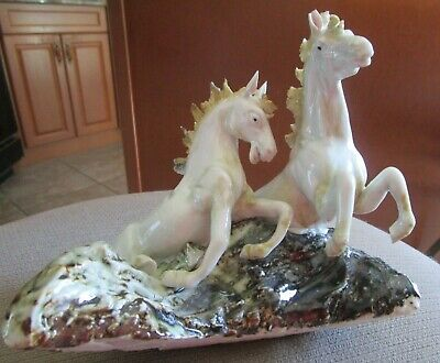 $ CDN89.95 • Buy Antique Majolica Porcelain Galloping Horses Figurine  Italy