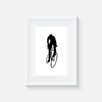 £5.25 • Buy Cyclist Greyscale, Print, Poster, Wall Art, Picture, Home Decor, Bike, Cycling