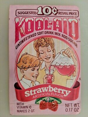 Vintage Old Kool Aid Packet Unopened Strawberry Drink Mix • 14.14£