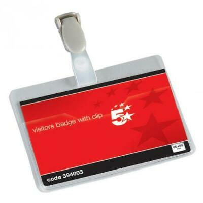 5 Star Office Name Badges Visitors Landscape With Plastic Clip 60x90mm Pack 25 • 10.49£