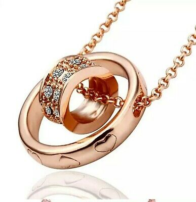 Double Ring Rose Gold Plated Pendant Circle Heart Pattern 18  Chain Necklace • 3.54£