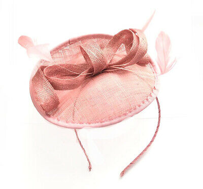 Ladies Pink Feather Hat Fascinator Aliceband Headband Ascot Weddings • 9.99£