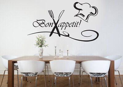 Kitchen Bon Appetit Family Wall Stickers Art Dining Room Removable Decals DIY • 3.79£