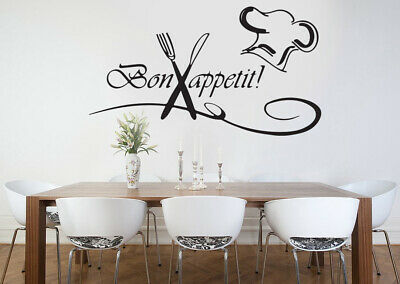 £3.69 • Buy Kitchen Bon Appetit Family Wall Stickers Art Dining Room Removable Decals DIY
