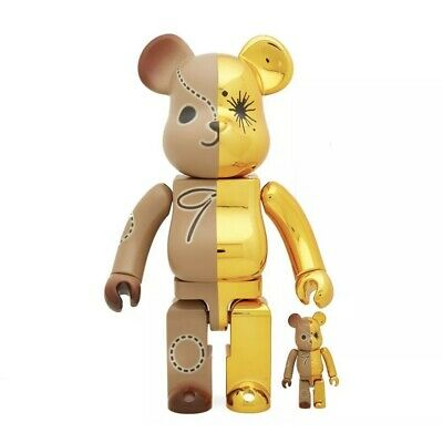 $199.99 • Buy MIHARA YASUHIRO Bearbrick Set 400% 100% Be@rbrick Gold Brown Rare Limited Chrome