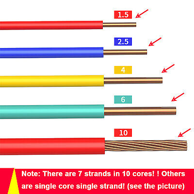 £1.95 • Buy Electric Wire Extension Cable 1-Core BV Fit Home Lighting Outdoor DIY All Colour