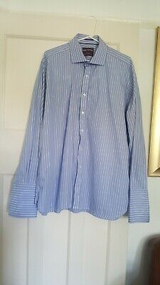 M&S Sartorial Extra Fine Cotton Blue Stripe  Shirt By Timothy Everest Size 17 • 8£