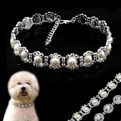 £5.99 • Buy Crystal Rhinestone Pearl Dog Necklace Collar Jewelry Pet Puppy Cat Dog Grooming