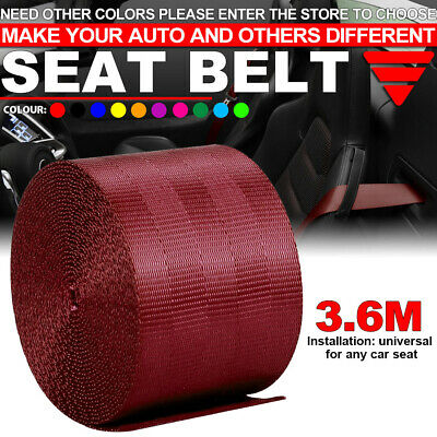 $12.84 • Buy Wine Red Car Seat Belt Webbing Polyester Seat Lap Retractable Nylon Safety Strap