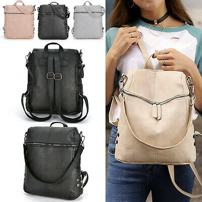 Women's Leather Backpack Anti-Theft Rucksack School Travel Shoulder Bag Satchel  • 6.99£