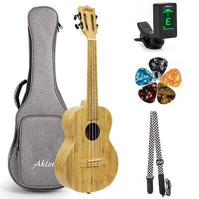 AU94.99 • Buy AKLOT Tenor Ukulele All Bamboo Ukulele 26 Inch W/Gig Bag Strap Picks