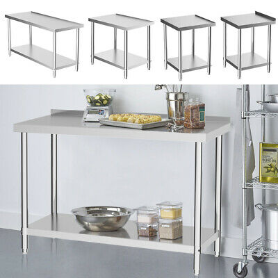 Kitchen Top Dining Catering Table Stainless Steel Prep Work Bench Commercial Use • 85.95£