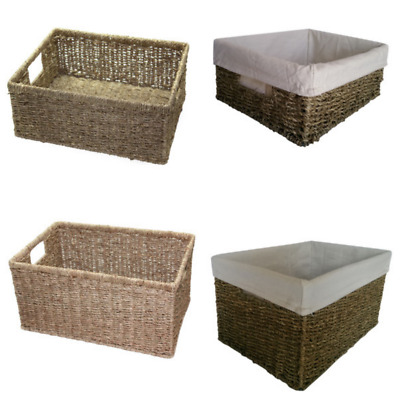 Seagrass Storage Basket Small Medium Large Wicker Drawer Lining Gift Hamper • 18.95£