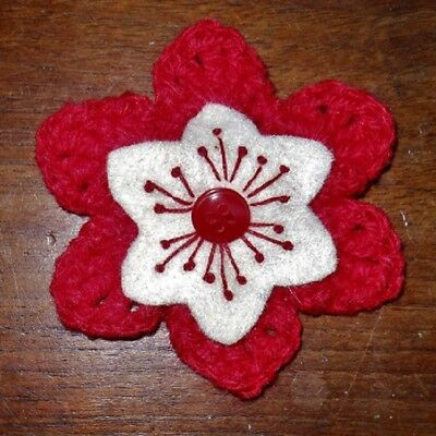 £3.50 • Buy CROCHET FLOWER CORSAGE BROOCH – Hand Crafted – Bright Red+ Felt Inner + Button