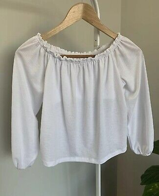 AU23.40 • Buy BERSHKA Off The Shoulder Top White Loose Puff Long Sleeve XS Extra Small 6-8