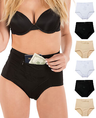$27.99 • Buy Barbra's Women's Travel Pocket Underwear Girdle Brief Panties S-4XL (6 Pack)