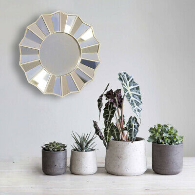 £13.21 • Buy Large Sunburst Wall Hanging Mirror 35cm Silver Home Decor Faceted Circular Round