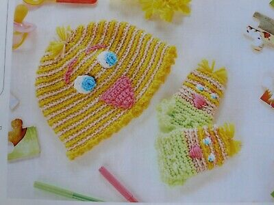 Easter Chick Baby Hat & Mitts Crochet Pattern • 1.95£