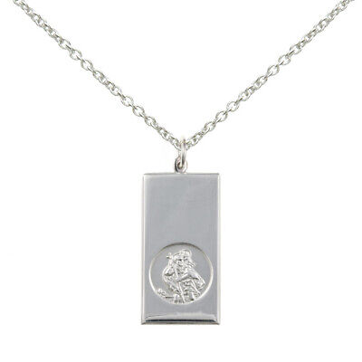 New Solid Silver Mens St Christopher Flat Ingot Style Necklace Jewellery • 35£