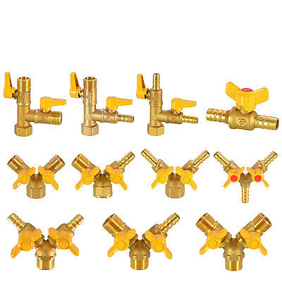 £3.65 • Buy Brass Ball Valve Y&T Shaped M/F BSP 1/2  Fuel Air Water Pipe Tube Hose Fitting