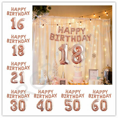 £3.95 • Buy Rose Gold Happy Birthday Balloons Foil Number 16th 18th 21st Age Decorations