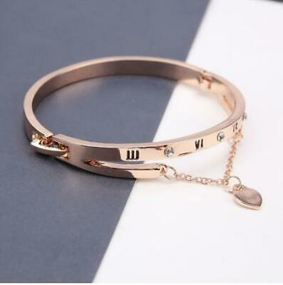 Fashion New Rose Gold Plated Stainless Steel Bangle Bracelet Heart Chain Love  • 3.99£