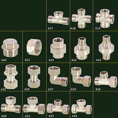 Female Male BSP Brass Connector Fitting Union Elbow Tee Reducing Nipple Adapter • 2.99£