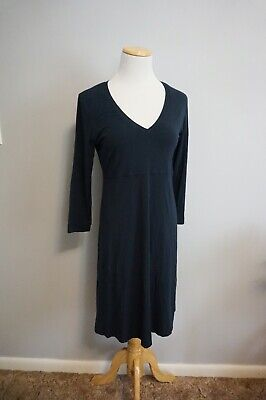 $ CDN42.96 • Buy M0851 Navy V Neck Dress Size Large Made In Canada Stretch 3/4 Sleeve