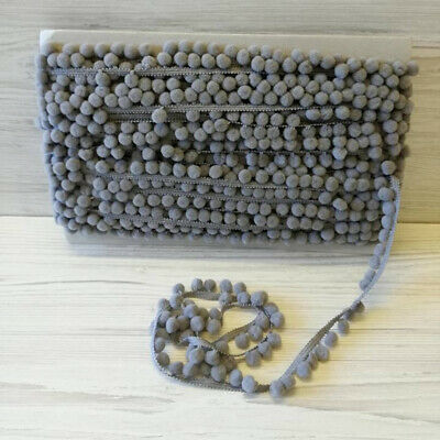 Grey POM POM Trim Quality Pompoms 10mm Bobbles 18mm Total Width Tape 316 • 8.55£