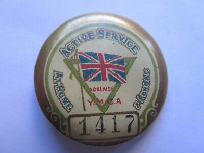AU35 • Buy WORLD WAR I TINNIE Or BADGE ACTIVE SERVICE AT HOME & ABROAD ADELAIDE YMCA C1918