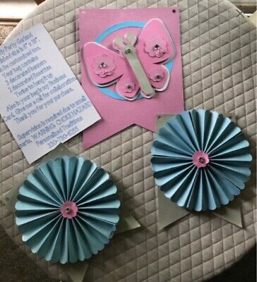Butterfly And Rosette Banner Party Decor Baby Shower Wedding • 4.34£