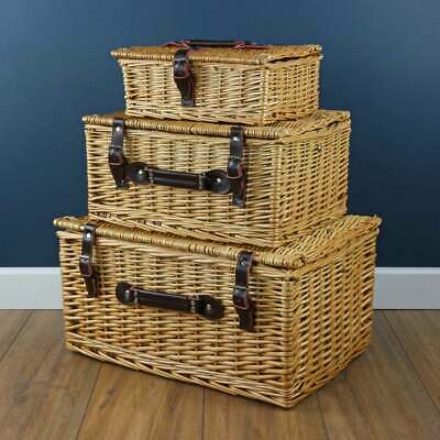 Classic Wicker Woven Storage Basket Hamper Trunk Lidded Picnic Gift Box • 23£