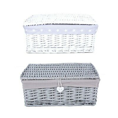 White/Grey Wicker Willow Storage Basket Hamper Box With Lid And Cloth Lining • 16.99£