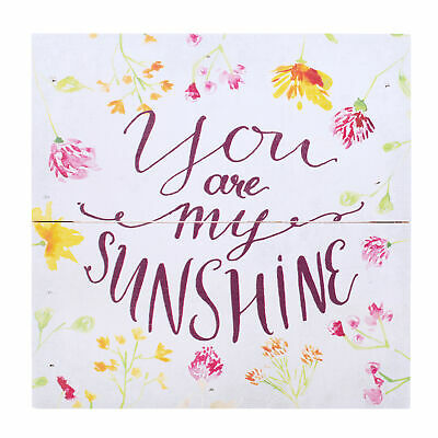 You Are My Sunshine Floral Multicolored 7 X 7 Pine Wood Boxed Pallet Plaque • 14.20£
